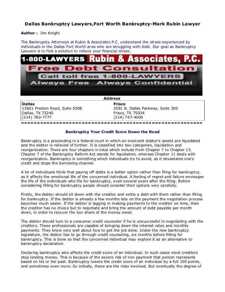 Dallas Bankruptcy Lawyers,Fort Worth Bankruptcy-Mark Rubin LawyerAuthor : Jim KnightThe Bankruptcy Attorneys at Rubin & As...