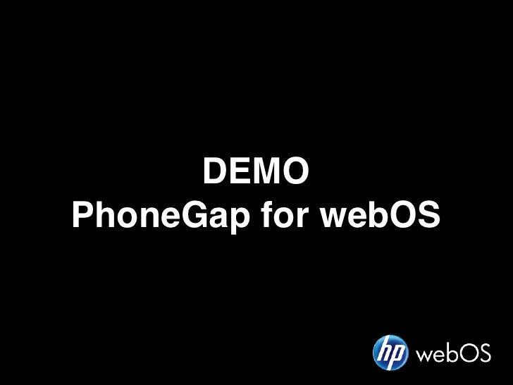 DEMOPhoneGap for webOS