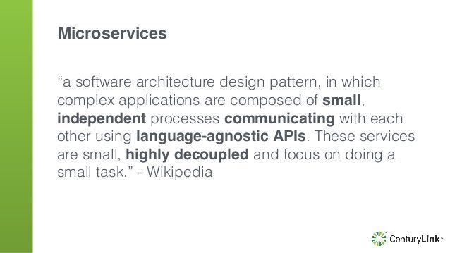 """""""a software architecture design pattern, in which complex applications are composed of small, independent processes commun..."""