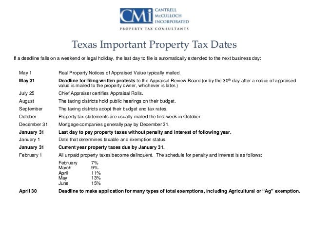 When Are Property Tax Bills Mailed In Dallas