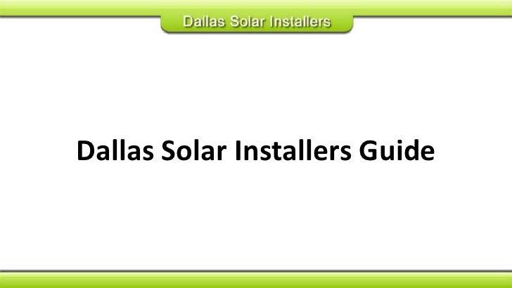 Dallas Solar Installers Guide<br />