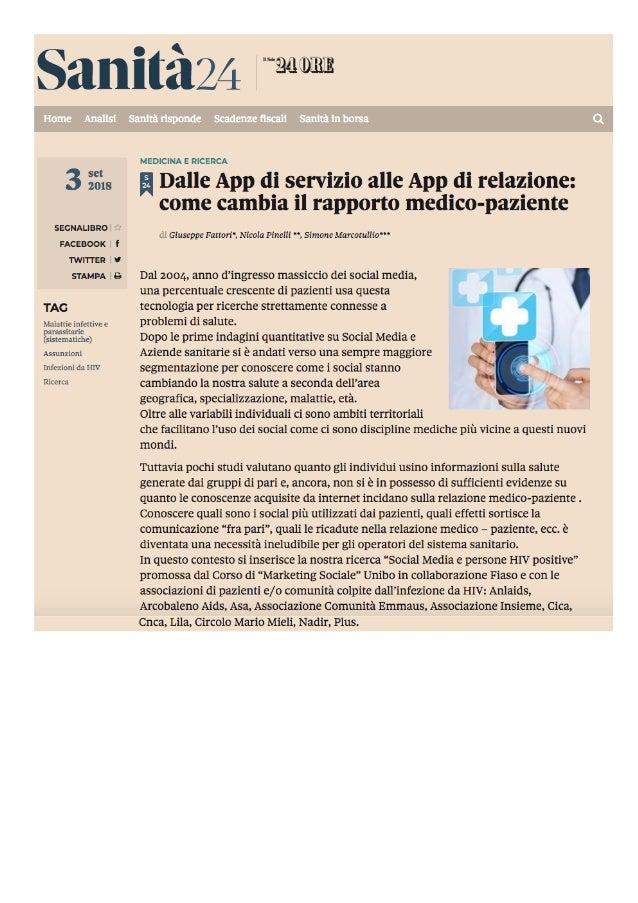 Dalle App di servizio alle App di relazione: come cambia il rapporto medico-paziente di Giuseppe Fattori*, Nicola Pinelli ...