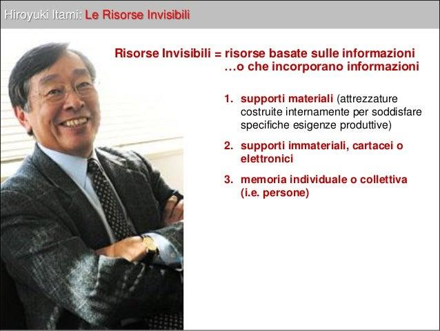 Hiroyuki Itami: Le Risorse Invisibili Le loro caratteristiche principali:  Difficile acquisibilità: sono frutto delle att...