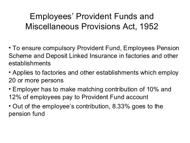 Employees' Provident Funds and     Miscellaneous Provisions Act, 1952• To ensure compulsory Provident Fund, Employees Pens...