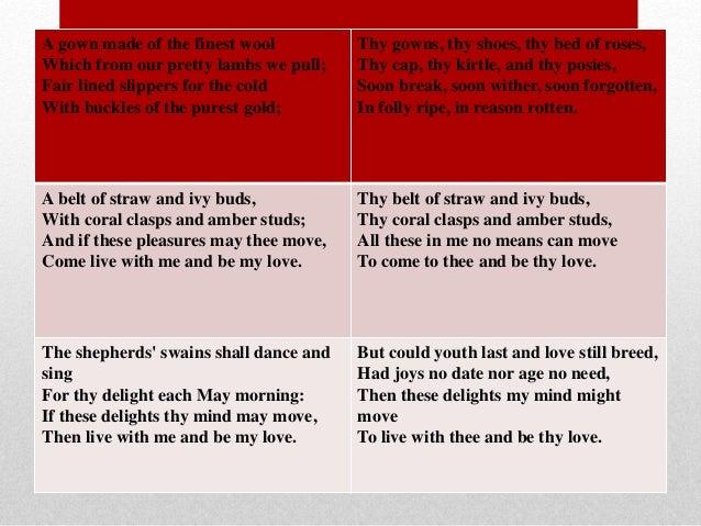 Sonnet 130 Vs The Passionate Shepherd To Essay