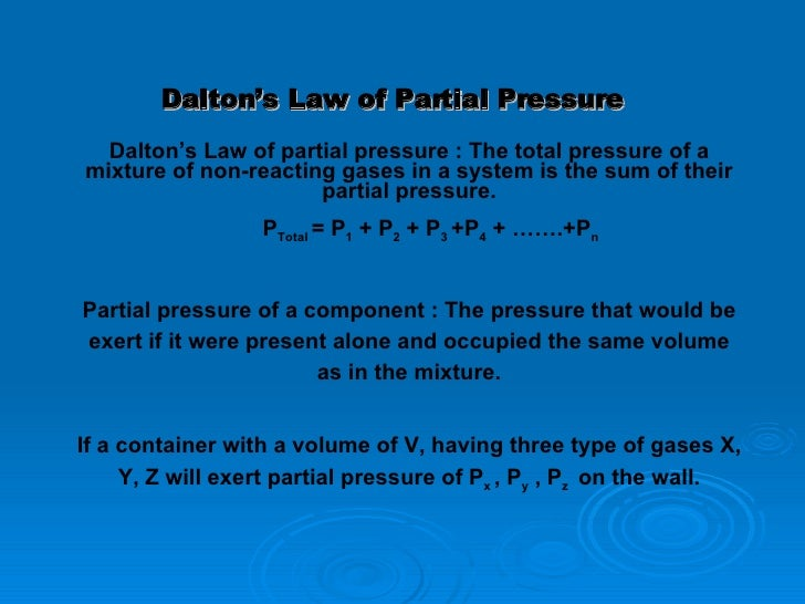 Dalton S Law Of Partial Pressure Kids
