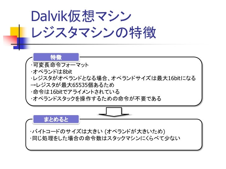 Dalvik仮想マシンのアーキテクチ...