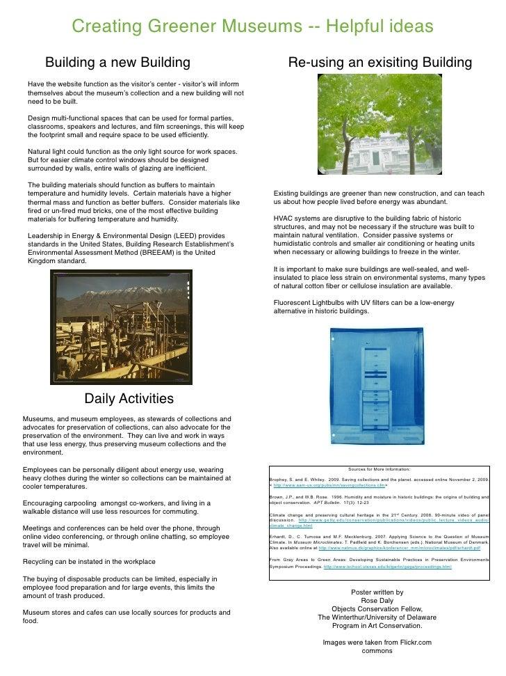 Creating Greener Museums -- Helpful ideas        Building a new Building              Re-using an exisiting Building   Hav...