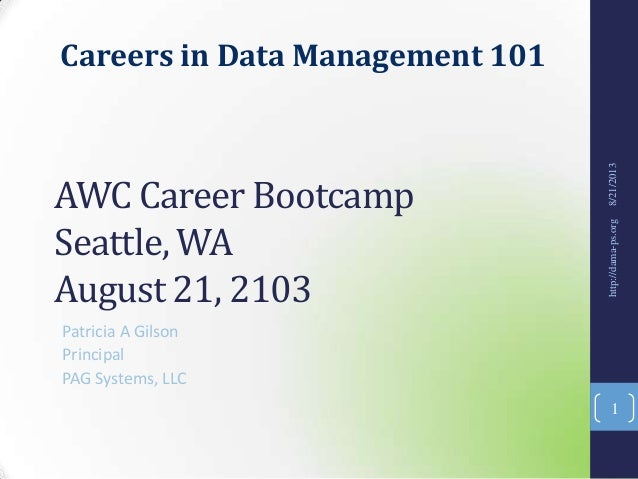 Careers in Data Management 101 AWC Career Bootcamp Seattle, WA August 21, 2103 Patricia A Gilson Principal PAG Systems, LL...