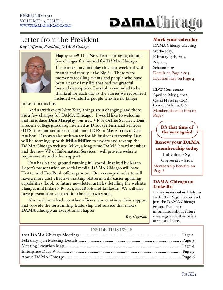 FEBRUARY 2012    VOLUME 29, ISSUE 1    WWW.DAMACHICAGO.ORG    Letter from the President                                   ...