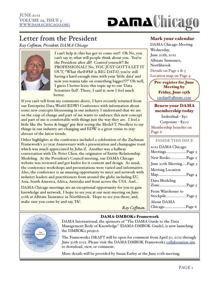 JUNE 2012    VOLUME 29, ISSUE 3    WWW.DAMACHICAGO.ORG    Letter from the President                                       ...