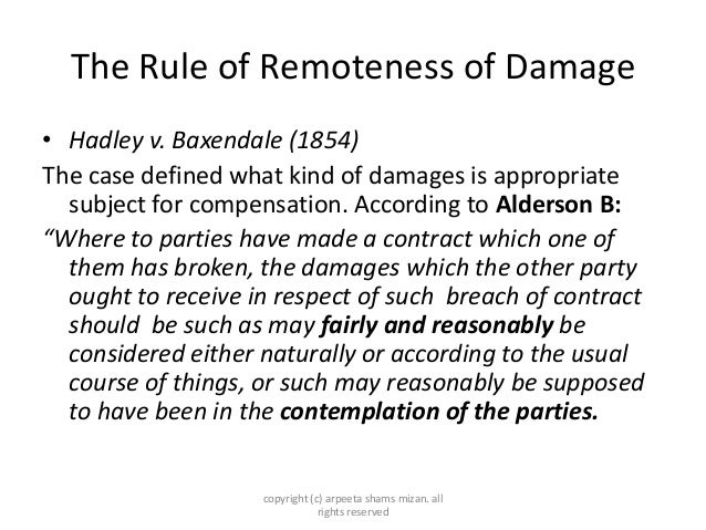 case history of hadley vs baxendale This test was set out in hadley v baxendale (1854) 9 ex 341 at 354-355, and has   other recent irish cases on hadley v baxendale include.