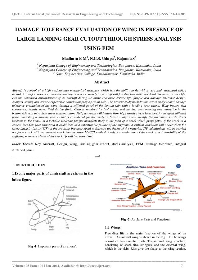Damage tolerance evaluation of wing in presence of large