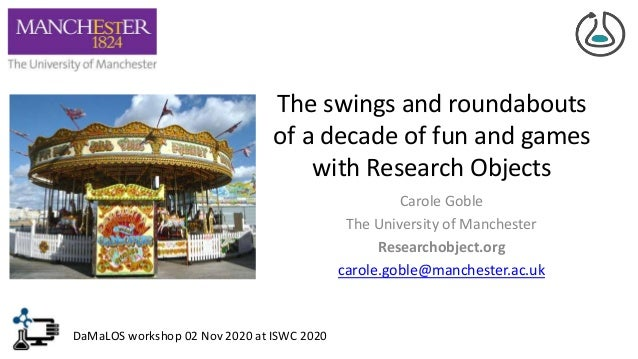 The swings and roundabouts of a decade of fun and games with Research Objects Carole Goble The University of Manchester Re...
