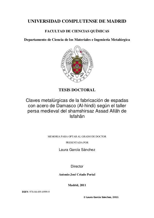 UNIVERSIDAD COMPLUTENSE DE MADRID FACULTAD DE CIENCIAS QUÍMICAS Departamento de Ciencia de los Materiales e Ingeniería Met...