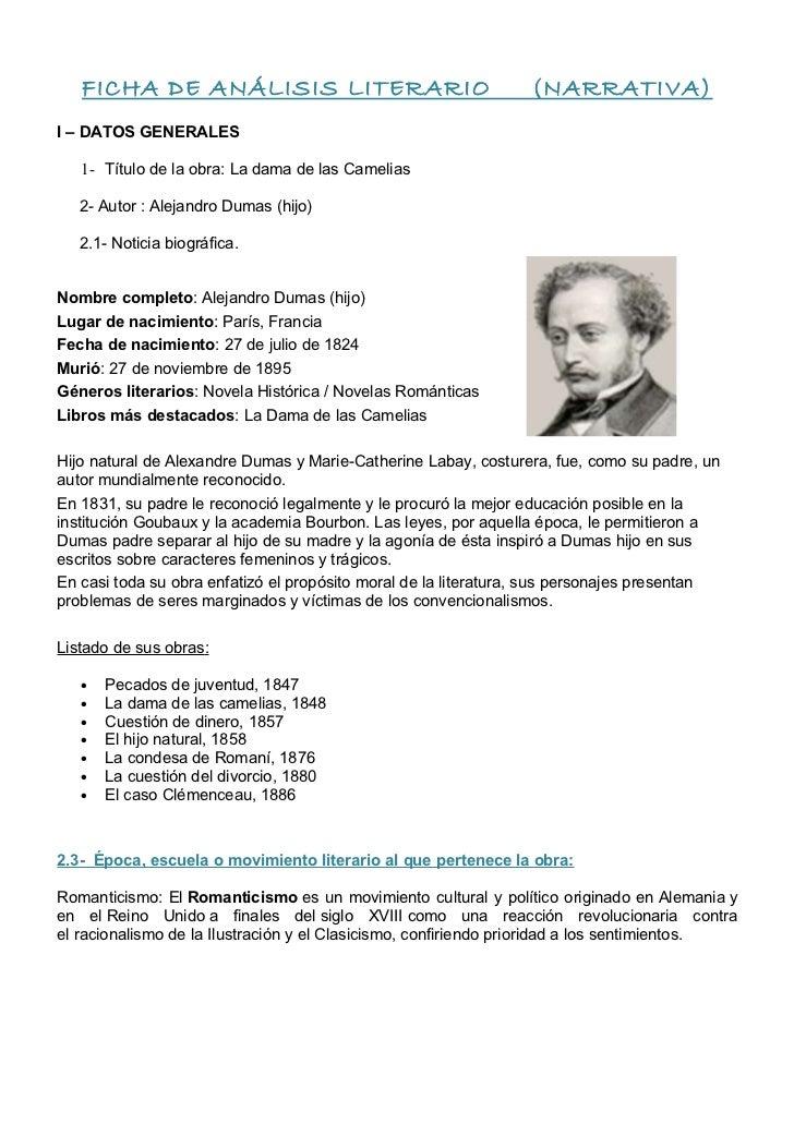 FICHA DE ANÁLISIS LITERARIO                                   (NARRATIVA)I – DATOS GENERALES   1- Título de la obra: La da...