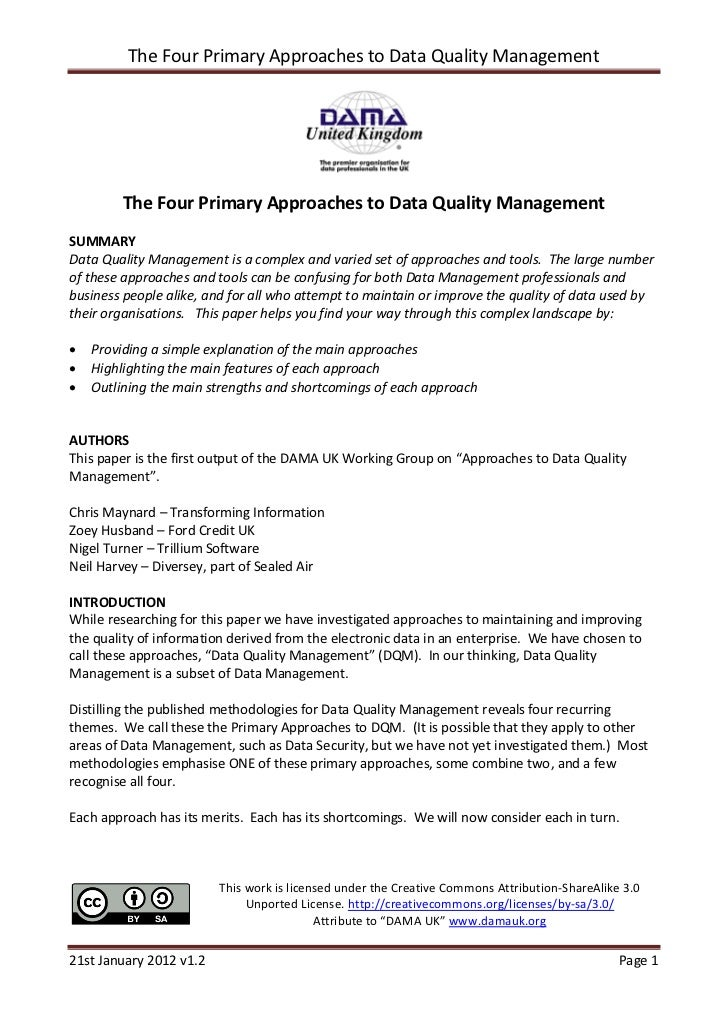 The Four Primary Approaches to Data Quality Management         The Four Primary Approaches to Data Quality ManagementSUMMA...