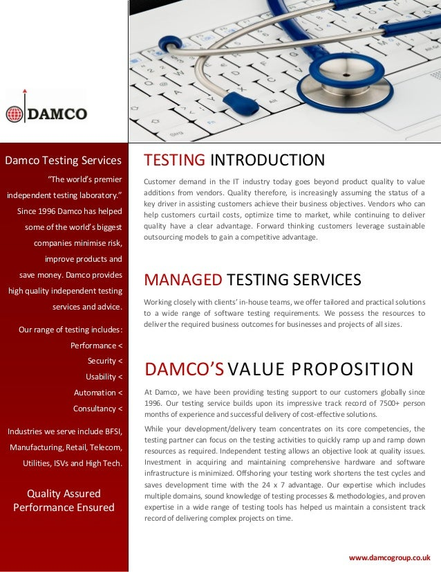 """Damco Testing Services """"The world's premier independent testing laboratory."""" Since 1996 Damco has helped some of the world..."""
