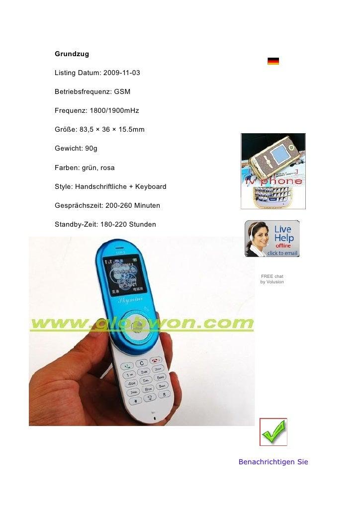 Grundzug                                 Sprachen   Listing Datum: 2009-11-03  Betriebsfrequenz: GSM                   Wäh...