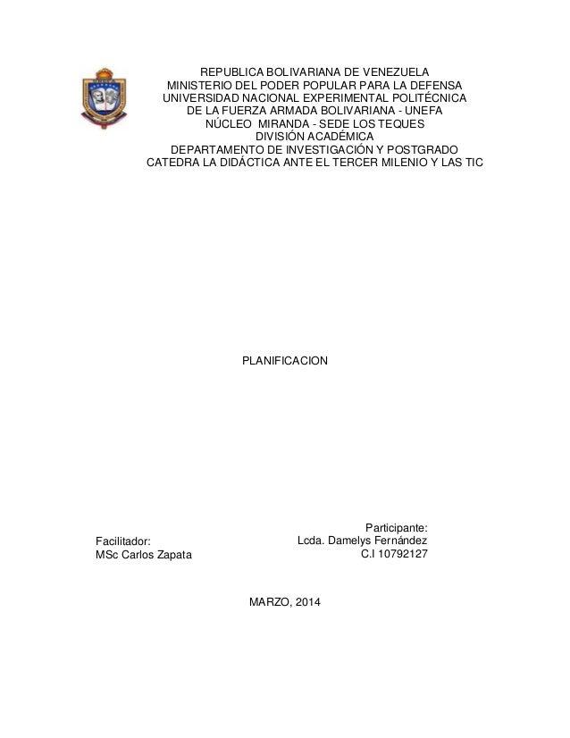 REPUBLICA BOLIVARIANA DE VENEZUELA MINISTERIO DEL PODER POPULAR PARA LA DEFENSA UNIVERSIDAD NACIONAL EXPERIMENTAL POLITÉCN...