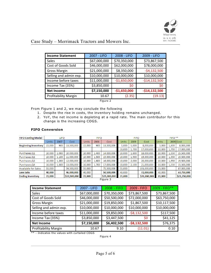 merrimack tractors and movers lifo and fifo solution Case study lifo vs fifo of financial statement of merrimack tractors and mowers case study on the differences between lifo vs fifo on the income tax % charge, how do these two impact the cost of good sold value, and how does it impacts the balance statement and income statement.
