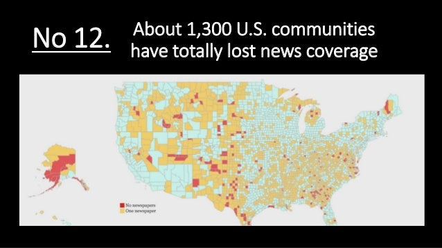 About 1,300 U.S. communities have totally lost news coverageNo 12.