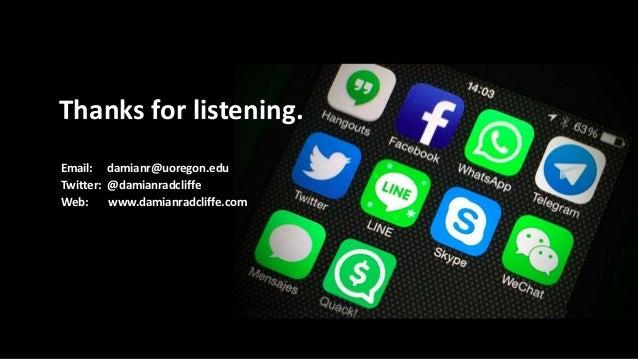 Thanks for listening. Email: damianr@uoregon.edu Twitter: @damianradcliffe Web: www.damianradcliffe.com