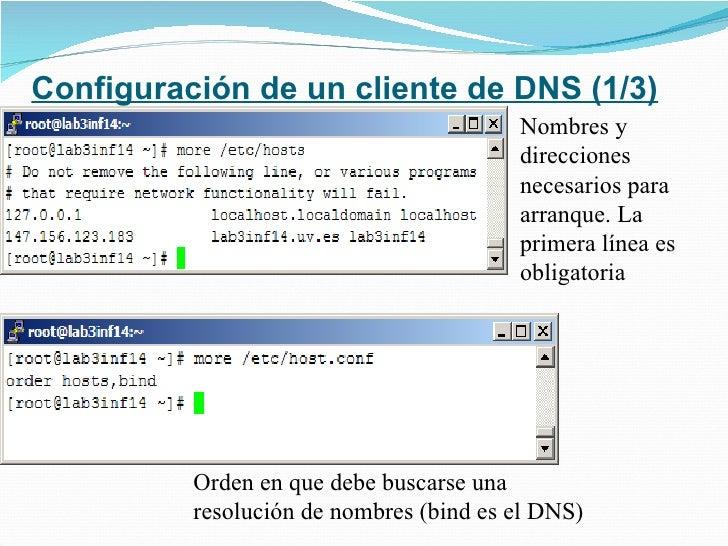 Configuración de un cliente de DNS (1/3) Nombres y direcciones necesarios para arranque. La primera línea es obligatoria O...