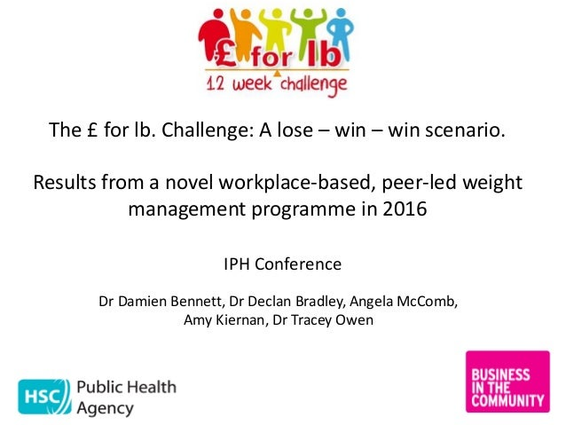 The £ for lb. Challenge: A lose – win – win scenario. Results from a novel workplace-based, peer-led weight management pro...