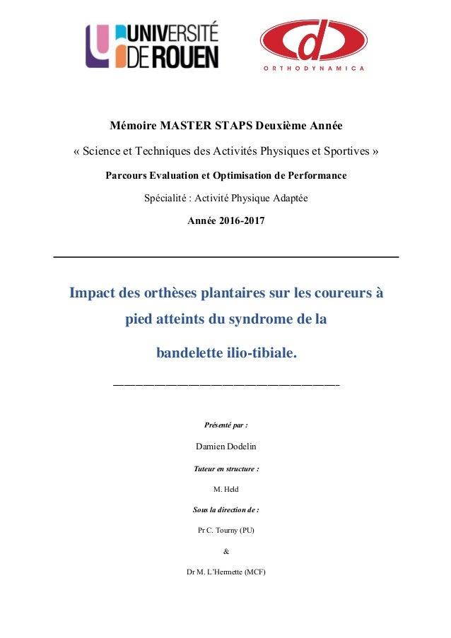 Mémoire MASTER STAPS Deuxième Année « Science et Techniques des Activités Physiques et Sportives » Parcours Evaluation et ...