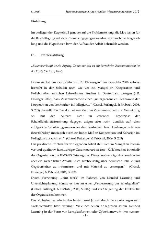 O. Mittl Masterstudiengang Angewandtes Wissensmanagement, 2012- 1 -EinleitungIm vorliegenden Kapitel soll genauer auf die ...