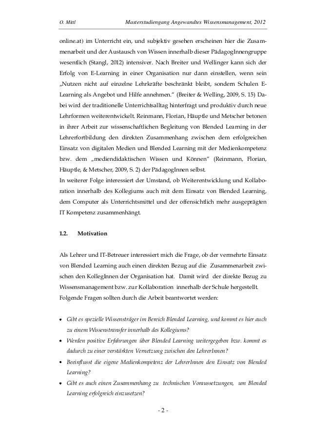 O. Mittl Masterstudiengang Angewandtes Wissensmanagement, 2012- 2 -online.at) im Unterricht ein, und subjektiv gesehen ers...