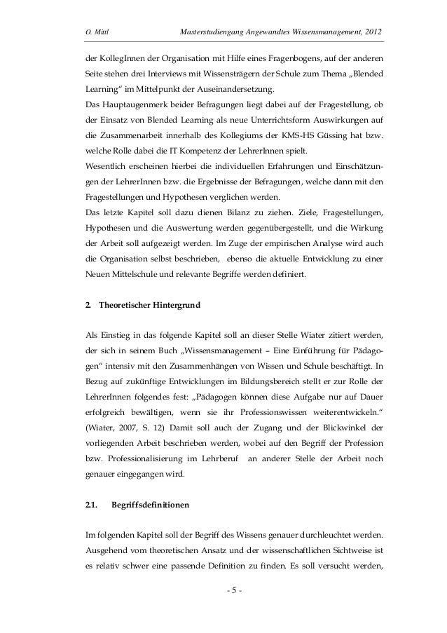 O. Mittl Masterstudiengang Angewandtes Wissensmanagement, 2012- 5 -der KollegInnen der Organisation mit Hilfe eines Fragen...