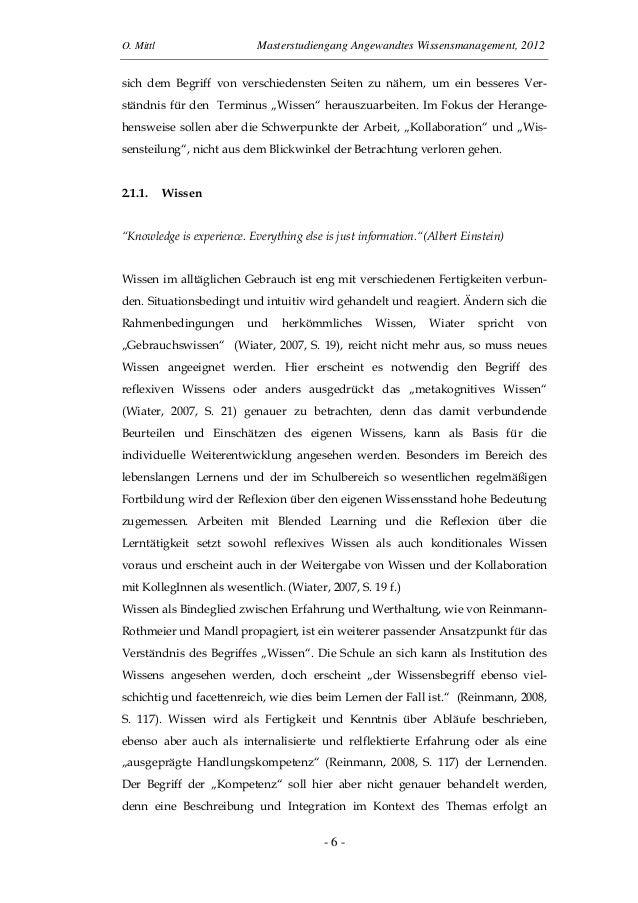 O. Mittl Masterstudiengang Angewandtes Wissensmanagement, 2012- 6 -sich dem Begriff von verschiedensten Seiten zu nähern, ...