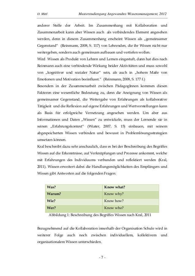 O. Mittl Masterstudiengang Angewandtes Wissensmanagement, 2012- 7 -anderer Stelle der Arbeit. Im Zusammenhang mit Kollabor...