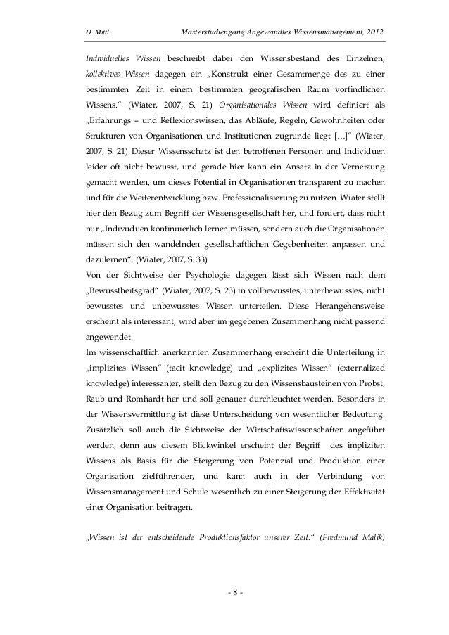 O. Mittl Masterstudiengang Angewandtes Wissensmanagement, 2012- 8 -Individuelles Wissen beschreibt dabei den Wissensbestan...