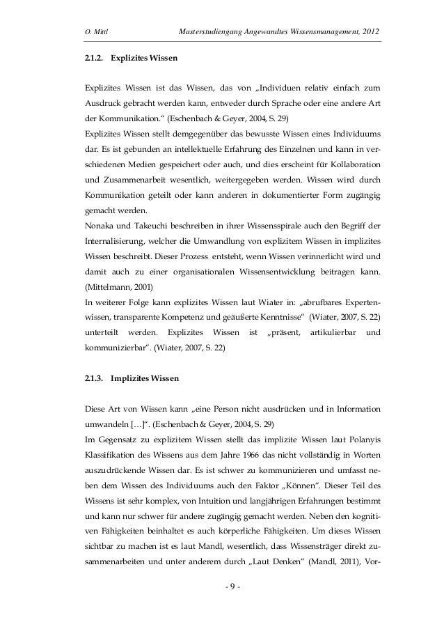 O. Mittl Masterstudiengang Angewandtes Wissensmanagement, 2012- 9 -2.1.2. Explizites WissenExplizites Wissen ist das Wisse...