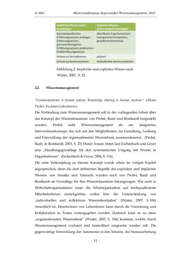 O. Mittl Masterstudiengang Angewandtes Wissensmanagement, 2012- 11 -Abbildung 2: Implizites und explizites Wissen nachWiat...