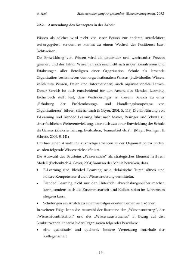 O. Mittl Masterstudiengang Angewandtes Wissensmanagement, 2012- 14 -2.2.2. Anwendung des Konzeptes in der ArbeitWissen als...