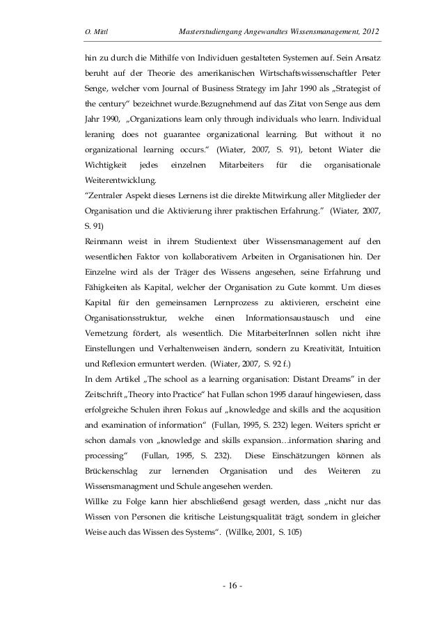 O. Mittl Masterstudiengang Angewandtes Wissensmanagement, 2012- 16 -hin zu durch die Mithilfe von Individuen gestalteten S...