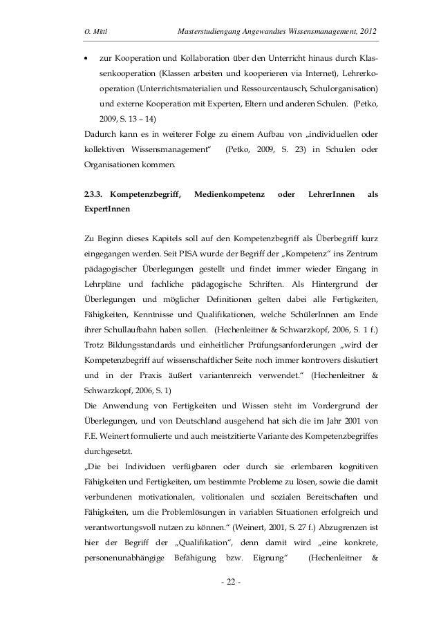 O. Mittl Masterstudiengang Angewandtes Wissensmanagement, 2012- 22 -zur Kooperation und Kollaboration über den Unterricht ...