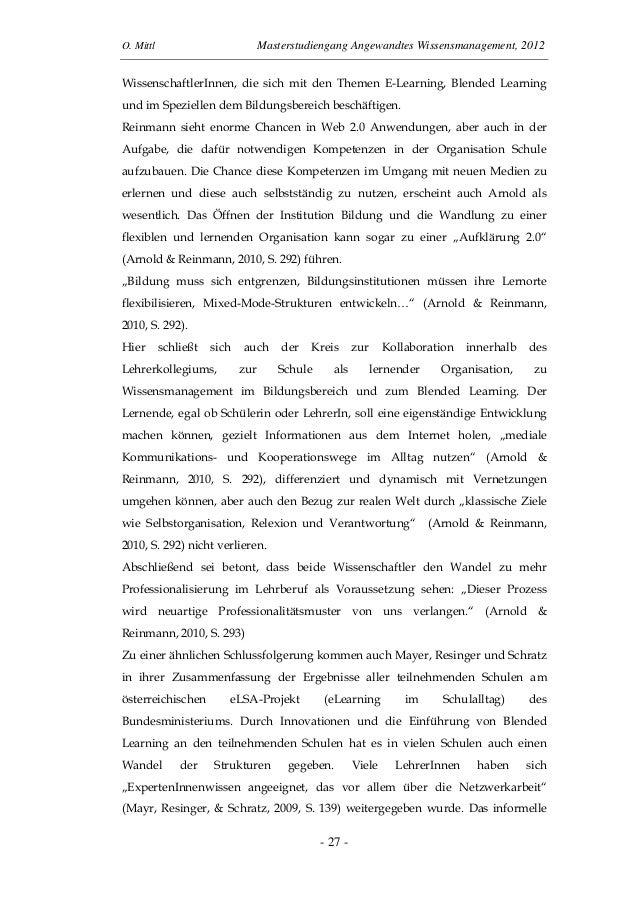 O. Mittl Masterstudiengang Angewandtes Wissensmanagement, 2012- 27 -WissenschaftlerInnen, die sich mit den Themen E-Learni...