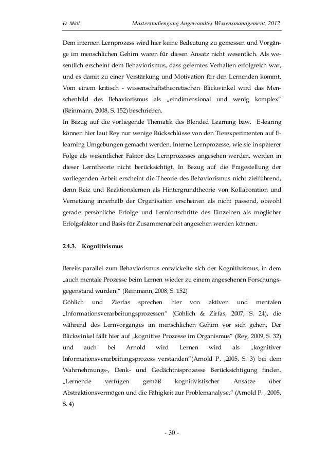 O. Mittl Masterstudiengang Angewandtes Wissensmanagement, 2012- 30 -Dem internen Lernprozess wird hier keine Bedeutung zu ...
