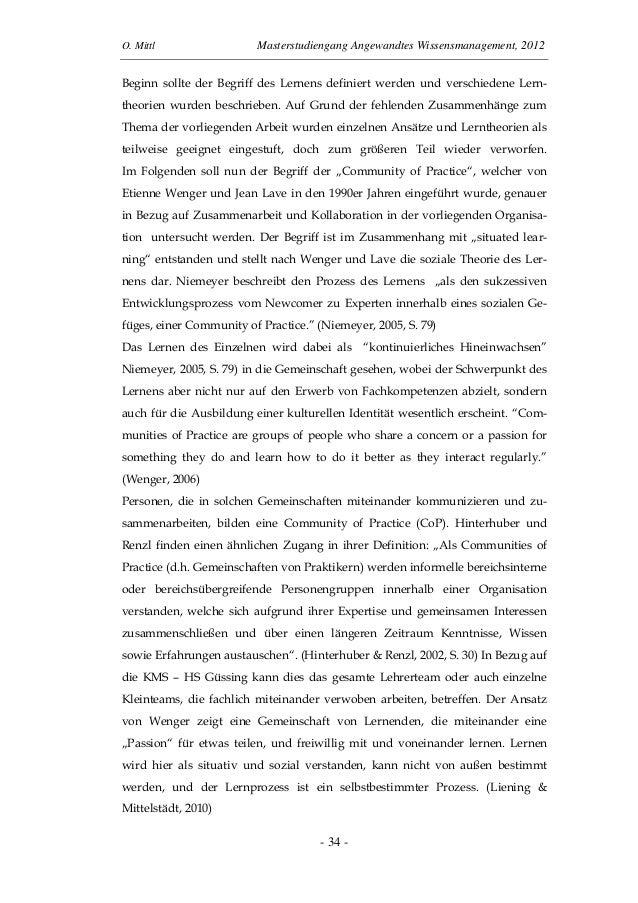 O. Mittl Masterstudiengang Angewandtes Wissensmanagement, 2012- 34 -Beginn sollte der Begriff des Lernens definiert werden...
