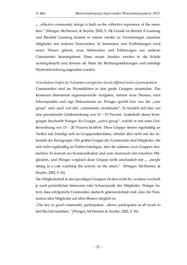 "O. Mittl Masterstudiengang Angewandtes Wissensmanagement, 2012- 37 -""…effective community design is built on the collectiv..."