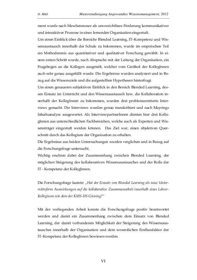 O. Mittl Masterstudiengang Angewandtes Wissensmanagement, 2012VIment wurde nach Meschenmoser als unverzichtbare Förderung ...