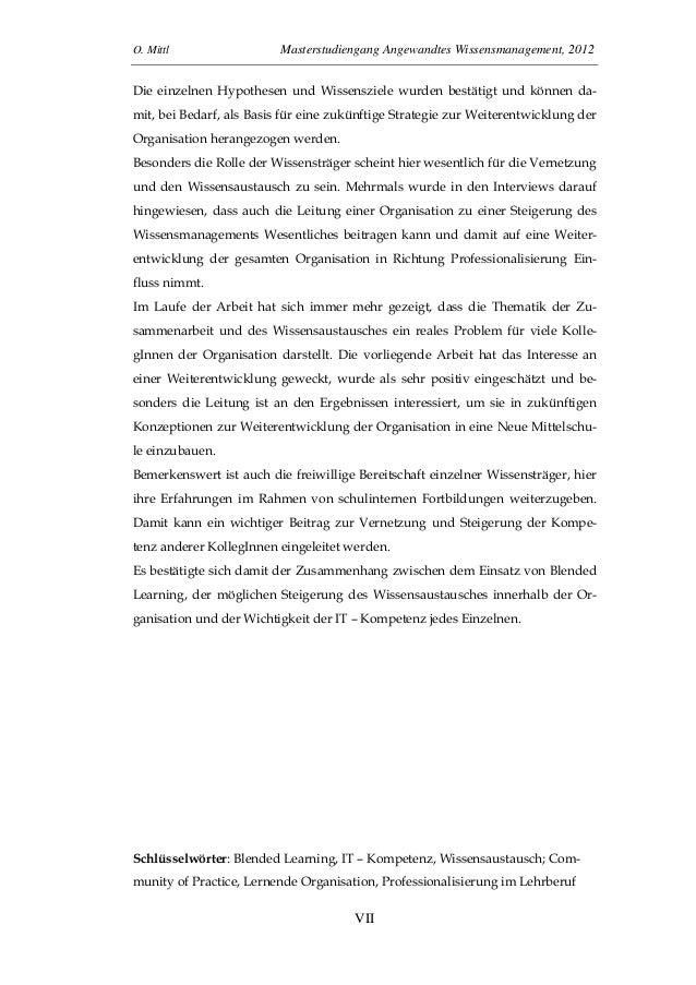 O. Mittl Masterstudiengang Angewandtes Wissensmanagement, 2012VIIDie einzelnen Hypothesen und Wissensziele wurden bestätig...