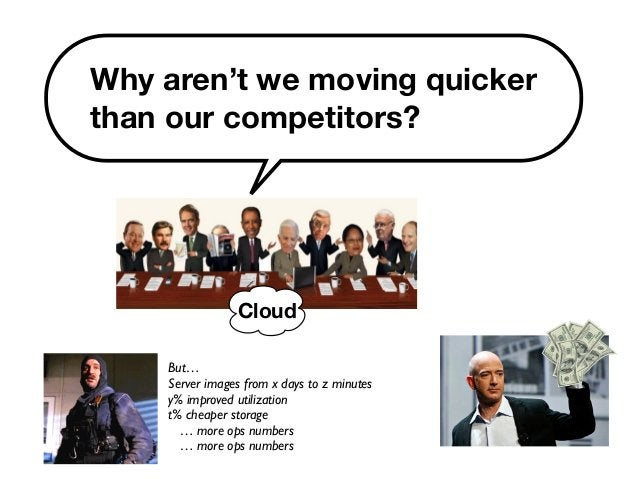 Why aren't we moving quicker  than our competitors?  Cloud  But…  Server images from x days to z minutes  y% improved util...