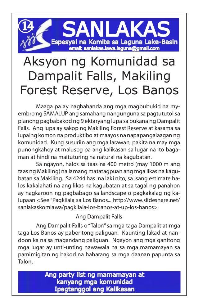 SANLAKAS14Aksyon ng Komunidad saDampalit Falls, MakilingForest Reserve, Los Banos Maaga pa ay naghahanda ang mga magbubuk...