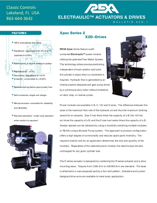 FEATURES Xpac Series 2 X2D–Drives REXA Xpac drives feature a self- contained Electraulic™ power module utilizing the pat...